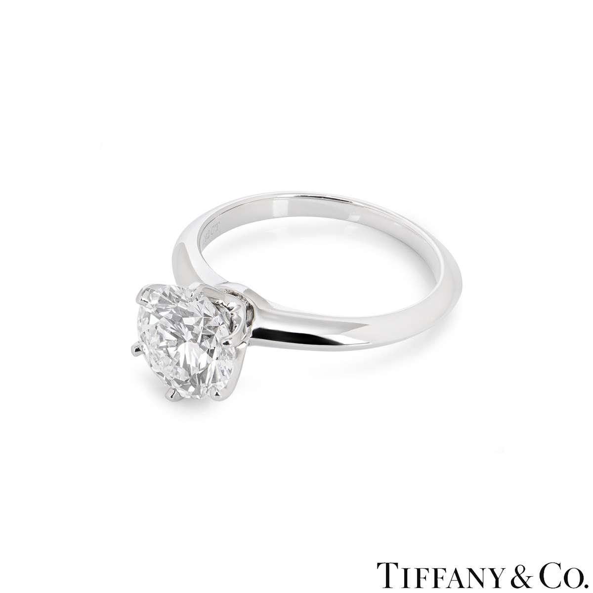 Tiffany & Co. Platinum Diamond Setting Ring 2.02ct D/VS1